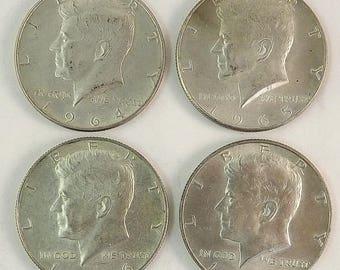 Lot Set of 4 Kennedy Half Dollar Coin, 1960's coins, 1964 1965 1966 1967 JFK Circulated, Philadelphia & Denver Mint Silver Coin