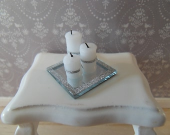 Mirror tray with candles