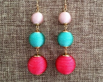 BUBBLE DROP Earrings in Gorgeous Watermelon Ombre  Bridesmaid Gift Wedding Jewelry Silk Earrings Bridesmaid Earrings Bon Bon Earrings