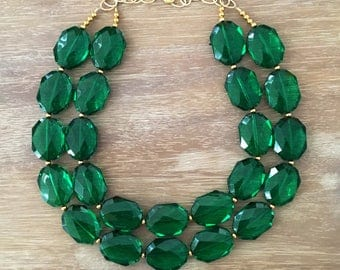 CLASSIC EMERALD NECKLACE Statement Jewlery Green Necklace Bridesmaid Jewlery Emerald Jewelry Emerald Necklace
