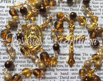 Mixed browns Czech glass and Crystal Picasso fire polished glass bead rosary with gold plate Miraculous Mary center and crucifix