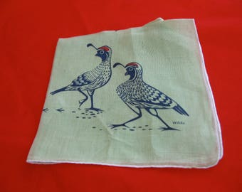Vintage Green Handkerchief With Desert Quail
