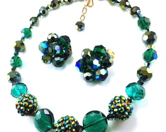 Rhinestone Bead Necklace Earrings Set Gorgeous Iridescent Green Carnival Glass Bead Studded Beads