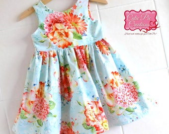 Blue Floral Tea Party Dress -gift for girl, summer dress, blue dress, party dress, flower girl dress, toddler dress, baby dress,floral dress