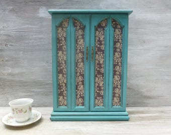 Large Upcycled Jewelry Box in Distressed Turquoise