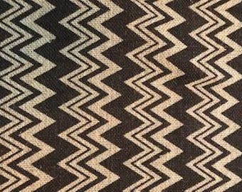 Burlap Fabric BROWN ZIG ZAG Chevron
