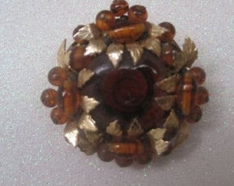 Amber, Rust Brooch, Gold Leaves, Vintage Jewelry