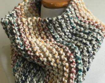 Chunky knit scarf in Hudson Bay, chunky knit cowl, circle scarf, knit eternity scarf, winter accessories