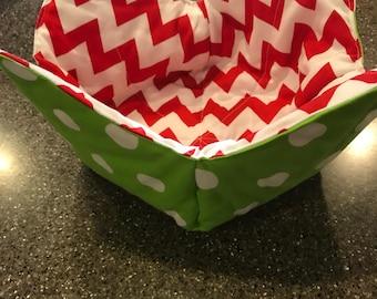 Bowl cozy, reversible bowl cozy, bowl pot holder, microwaveable bowl pot holder, christmas bowl cozy