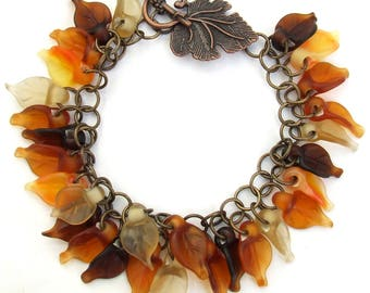 Lampwork Autumn Leaves Bracelet, Fall Colors, Copper Glass Bracelet, Etched Leaves Bracelet, Unique Gift, Ready to Ship