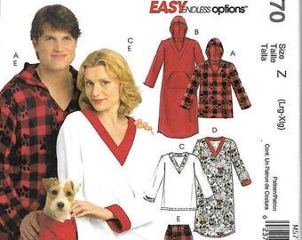 ON SALE McCall's 5770 Misses, Men's And Teens Tops, Nightshirts, Pants And Top For Dog Sewing Patterns, L-Xl, Uncut