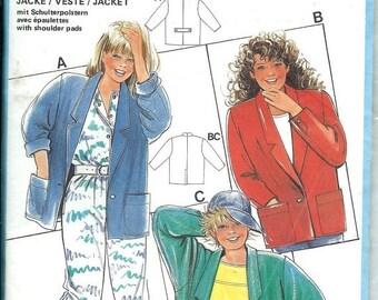 ON SALE Burda 6298 Girls 1980s Boxy Jacket Pattern, Size 10-15Junior UNCUT