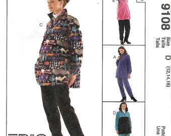 McCall's 9108 Trio Maternity Pattern, Tops, Vest And Pull On Pants , Size 12-16, UNCUT