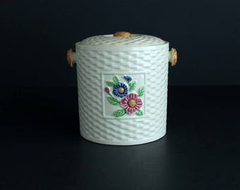 Vintage Basket Weave Cearmic Cookie Canister Made In Japan Biscuit Jar Kitchen Decor Early Mid Century