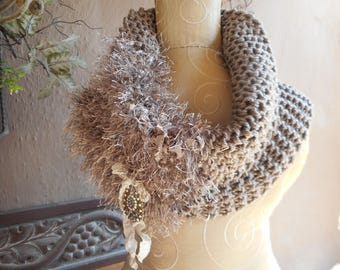 Hand Knit Cowl, Infinity,Hand Knit Scarf, Taupe