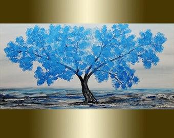 Oil Blue Blooming Tree palette knife.