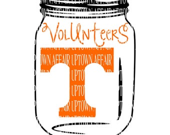 Tennessee Volunteers Mason Jar Multi-Layer SVG Digital Cut File