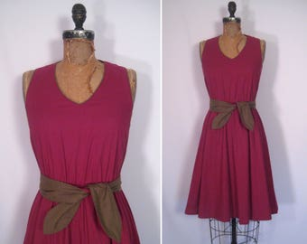 1970s oxblood and olive sundress • 70s maroon fit and flare day dress • vintage wild about you dress