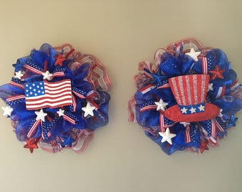 Twin Patriotic Wreaths for Double Doors