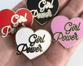 Girl Power Pin - Hard Enamel Pin - Equality - Feminist Pin - Girl Gang - Girl Boss - Pink, Red, White Glitter or Black - Enamel Pin