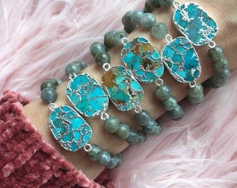 TURQUOISE + LABRADORITE  // Stretch bracelet // stacking bracelet // gemstone jewelry