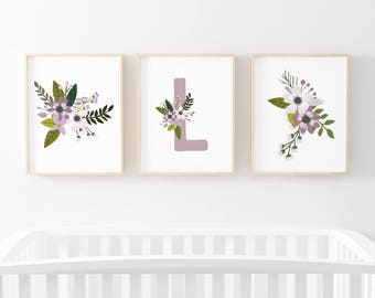 Lavender Sprigs Initial 3 Bundle Nursery Art. Nursery Wall Art. Nursery Prints. Nursery Decor. Girl Wall Art. Floral Art. Instant Download.