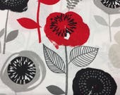 Floral Fabric, Poppy Fabric, Black Floral Fabric, Red Floral Fabric, Waverly Fabric, Spring Fabric, Cotton Fabric