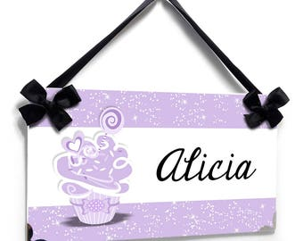 Personalized cupcake theme in purple accents bedroom door sign - P2648