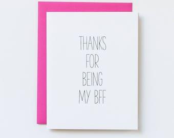 Best Friend Card, Friendship Cards, Best Friend Thank You Cards, Pink Best Friend, Breast Cancer Thank You Card, Breast Cancer Friendship