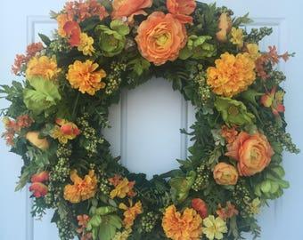 Orange Ranunculus with Marigolds & Daisies Wreath