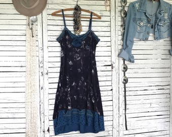 Camisole Dress S, Upcycled Clothing for Women, Upcycled Dress, Slip Dress, Hippie Boho, Hand Dyed, Artwear