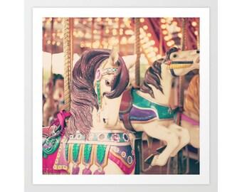 Carousel horse art, canvas art, carousel, girl nursery decor girl, large art, large wall art, nursery art, nursery wall art, nursery print