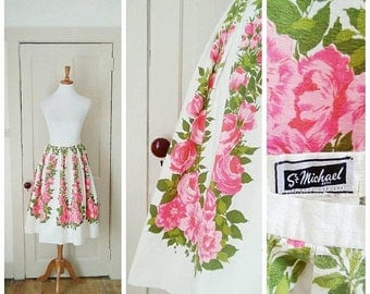 RESERVED! 20% OFF / Kiss You in the Garden 1950s St. Michael White/Pink/Green Rose/Floral Print Cotton Skirt