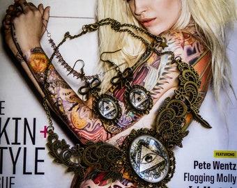 Bib necklace cameo calavera dia los muertos mexican gypsy Bohemian ♠ All Seeing Eye ♠