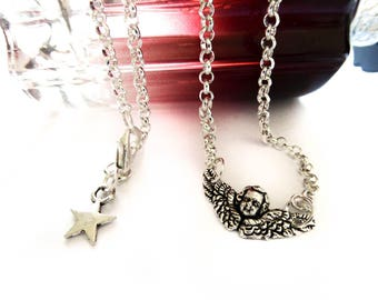 Silver plated mini Angel Wings necklace