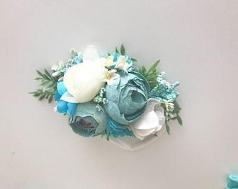 Well dressed wolf headband-  Aqua floral headband - baby Flower crown- baby girl ehadband-Floral crown- Dollcake -tutu du monde headband