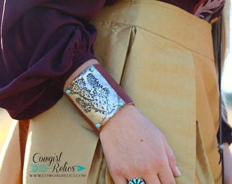 Prickly Pear Cactus Hand Stamped and Molten Solder Western Leather Cuff