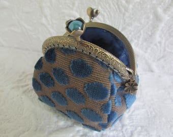 83- Coin purse - Fabric with Metal Frame, handmade, wallet