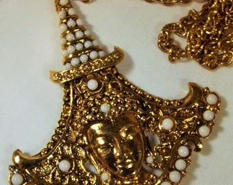 Necklace Vintage Designer Hindi Costume Milk Glass Pearls Big Bold Ethnic Boho Chic Big Pendant Chain Unique Exotic Runway Statement