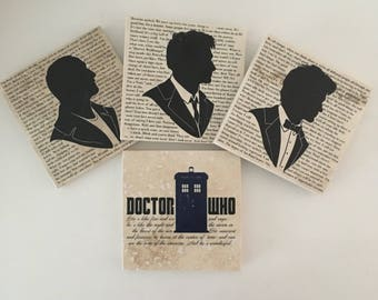 Stone Doctor Who Coasters (set of 4) - 9th doctor 10th doctor 11th doctor the Tardis Whovians Magical Eccleston David Tennant Matt Smith BBC