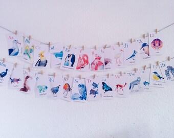 Alphabet flashcards, ABC flash cards, Alphabet art, Animal alphabet, Nursery ABC art, Baby penguin art, Geometric art, Polar bear print