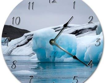 "10.5"" ICEBERG Clock - WHITE Clock - Living Room Clock - Large 10.5"" Wall Clock - Home Décor Clock - 5883"