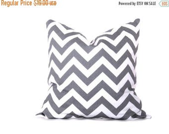15% Off Sale Gray Pillow Covers Decorative Pillows .20x20 inch.Pillow Covers.Grey Cushion.Chevron.Pillow Printed Fabric both sides 20 x 20