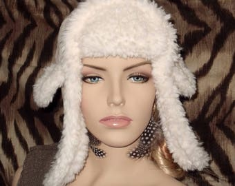 Sherpa ear flap trapper hat, winter white, one size fits most. 21 inches