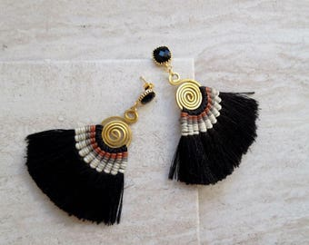 Black Tassel Statement Earrings 24K Gold Plated Faceted Onyx Gemstone Earrings Tassle Fan Silk Earrings BOHO Earrings Wedding Earrings