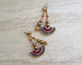 Half Moon Tribal Beaded Drop Earrings Hmong Pink Textile Brass Bead Dangle Earrings