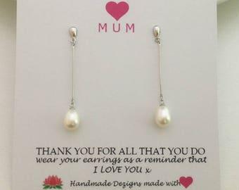 Silver Pearl Dangle Earrings, Freshwater Pearl Earrings,Pearl Drop Earrings, Sterling Silver ,June Birthstone, Mothers Day Jewelry, Mom