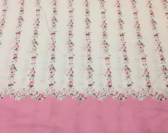 Quilting Cotton, Pink Rose Fabric, Pink and White Stripe Fabric, Border Print Fabric, Robin Mynatt for Paris Bebe Fabrics