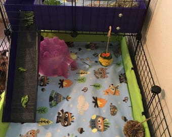 "4 layer fleece cage liner with 6"" or 12"" sides double uhaul pet bedding hedgehog guinea pig small animals rat cavy C&C Midwest cages"