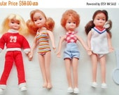 """ON SALE Vintage 5"""" Hong Kong Bendable Dolls, Set Of 4 Dolls, Tiny Dolls, Tennis, Swimsuit, Tiny Teen Doll Look Alike's, Made In Hong Kong, P"""